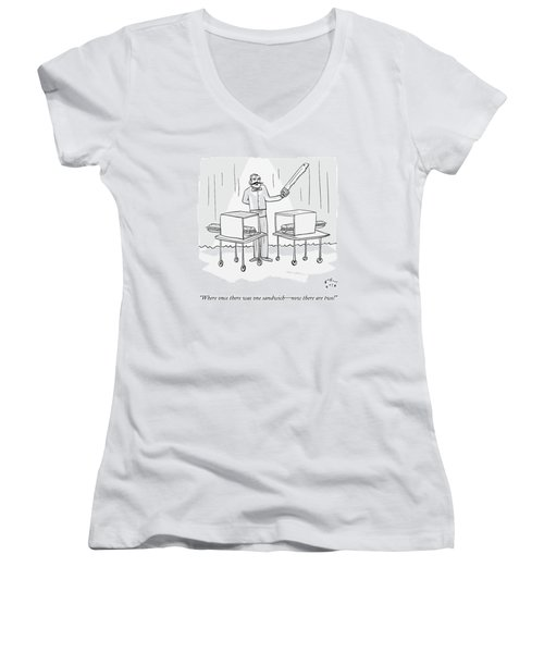 A Magician Holding A Saw Shows Two Boxes Women's V-Neck