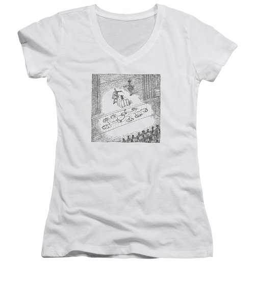 A Magician Is Seen On Stage Women's V-Neck