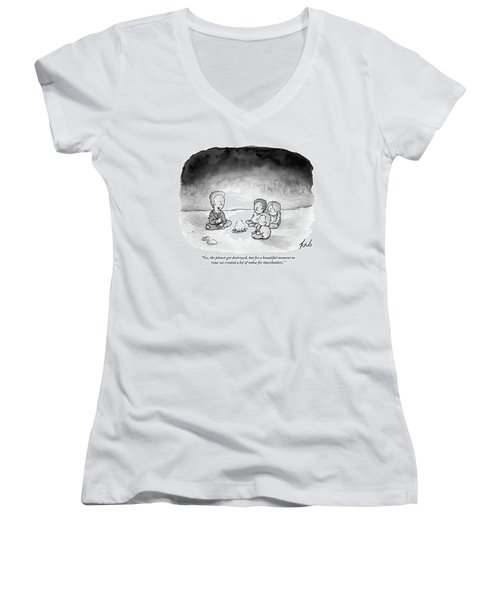 A Man And 3 Children Sit Around A Fire Women's V-Neck T-Shirt (Junior Cut) by Tom Toro