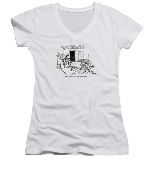 A Man Is Holding The Arms Of A Cat In A Tux Women's V-Neck