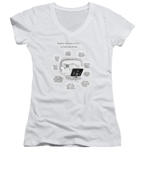 A Man Lies On A Couch Women's V-Neck