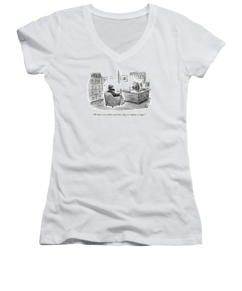 A Man Sits Across From A Personnel Desk Women's V-Neck