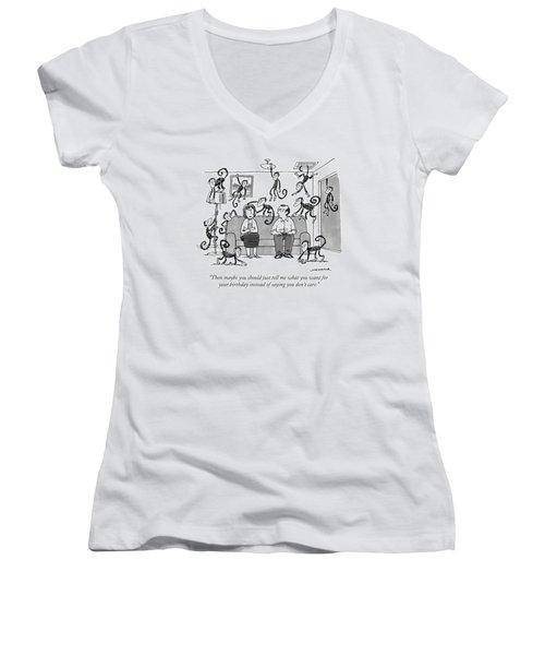A Man Talks To His Wife On Their Couch Women's V-Neck