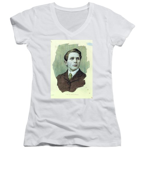 Women's V-Neck T-Shirt (Junior Cut) featuring the painting A Man Who Used To Be A Dreamer by James W Johnson