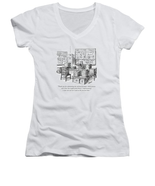 A Mathematician In A Room Full Of Stacked Papers Women's V-Neck