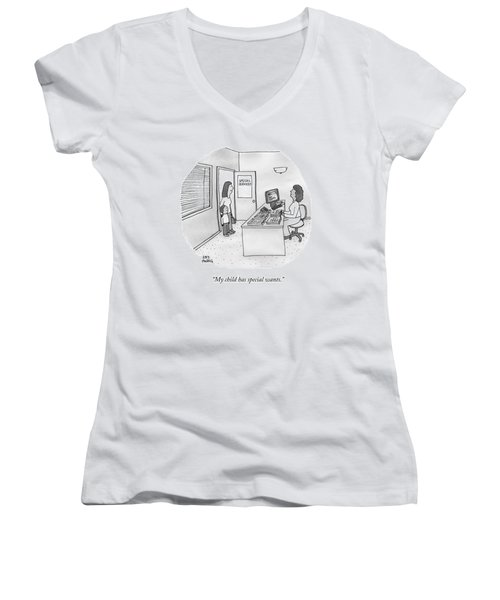 A Mother Brings Her Son Into A Room Labeled Women's V-Neck