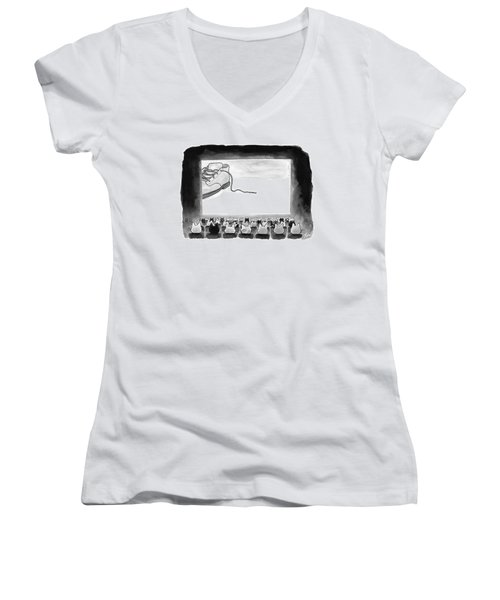A Movie Theater Audience Of All Cats Watches Women's V-Neck