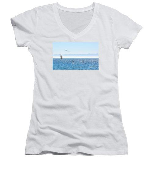 A Perfect Santa Barbara Day Women's V-Neck T-Shirt (Junior Cut)