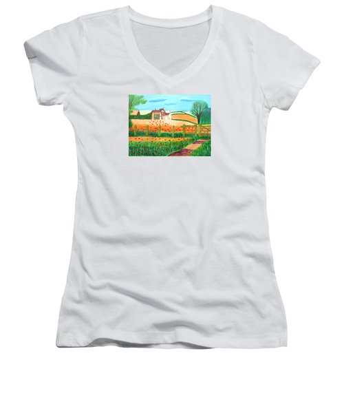 Women's V-Neck T-Shirt (Junior Cut) featuring the painting A Poppy Field by Magdalena Frohnsdorff