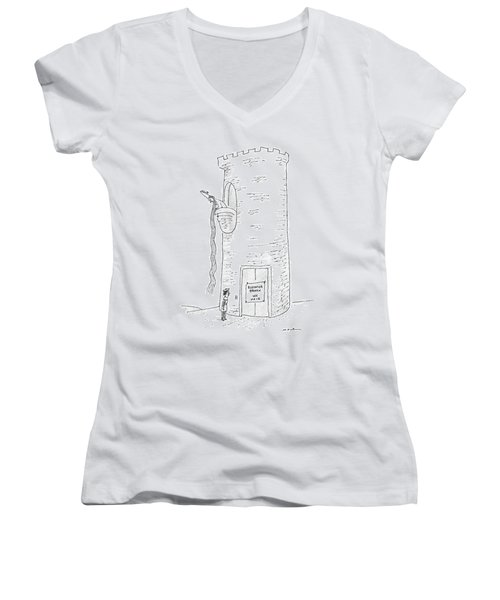 A Prince Reads That Rapunzel's Tower's Elevator Women's V-Neck