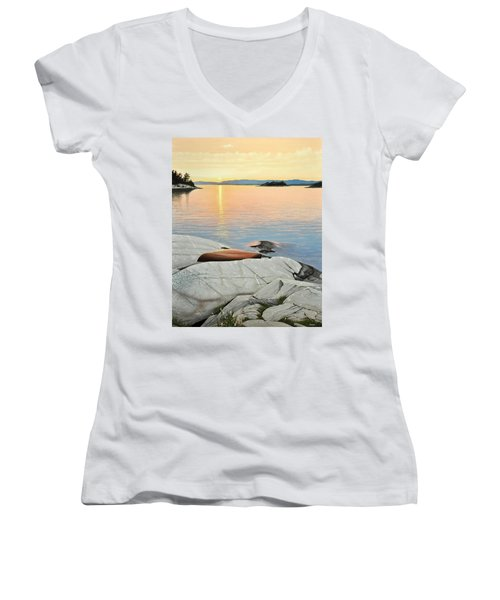 A Quiet Time Women's V-Neck T-Shirt (Junior Cut) by Kenneth M  Kirsch