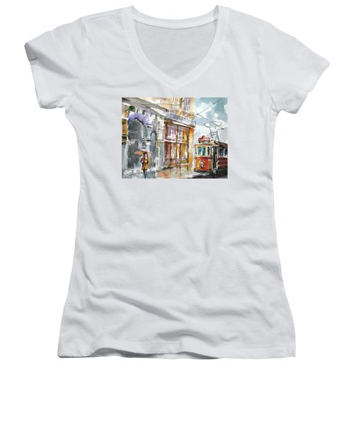 A Rainy Day In Istanbul Women's V-Neck T-Shirt (Junior Cut) by Faruk Koksal