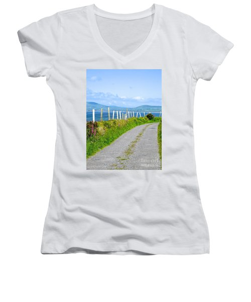 Women's V-Neck T-Shirt (Junior Cut) featuring the photograph A Road To Waterville by Suzanne Oesterling