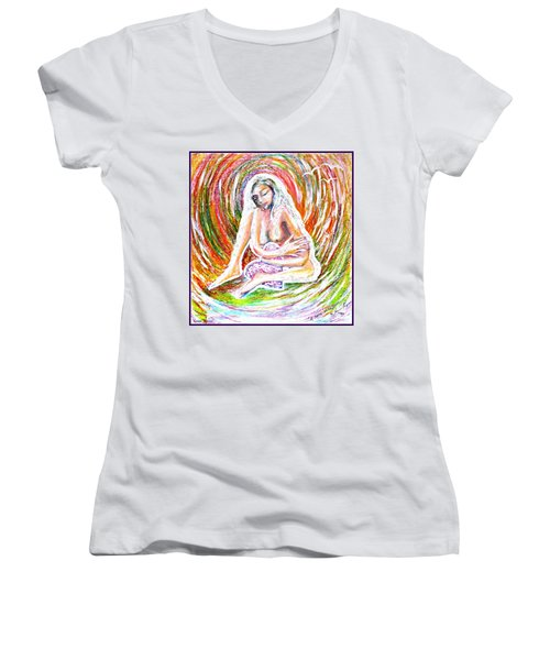 Women's V-Neck T-Shirt (Junior Cut) featuring the mixed media A Safe Heart by Leanne Seymour
