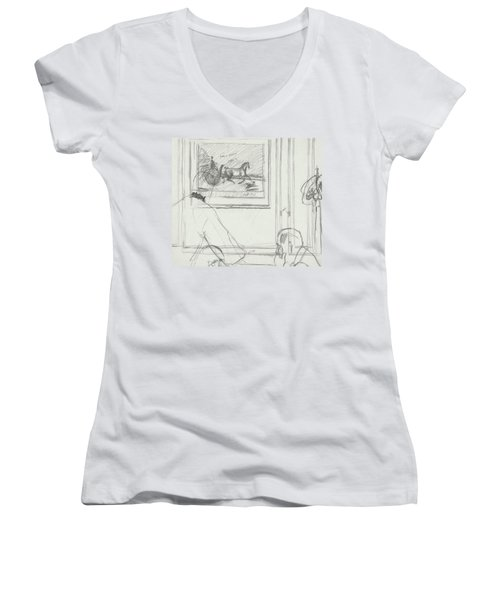 A Sketch Of A Horse Painting At A Bar Women's V-Neck