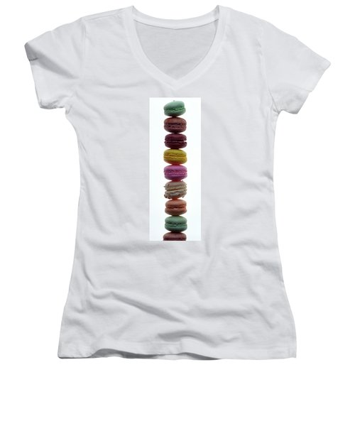 A Stack Of Macaroons Women's V-Neck