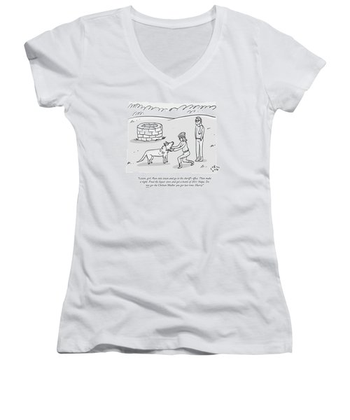 A Stylish Woman By A Well Gives Instructions Women's V-Neck