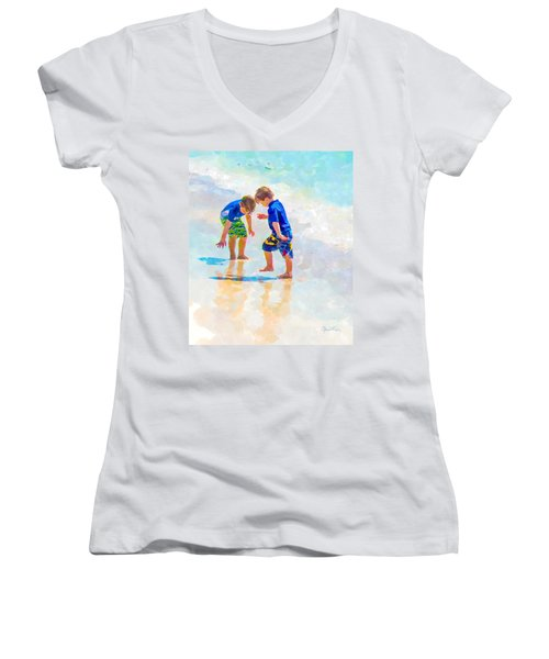 A Summer To Remember Iv Women's V-Neck T-Shirt (Junior Cut) by Susan Molnar
