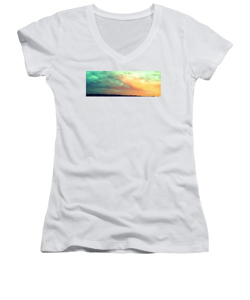 Women's V-Neck T-Shirt (Junior Cut) featuring the photograph A Sunset by Roberto Gagliardi