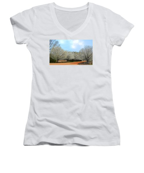 Women's V-Neck T-Shirt (Junior Cut) featuring the photograph A Touch Of Spring by Kathy Baccari