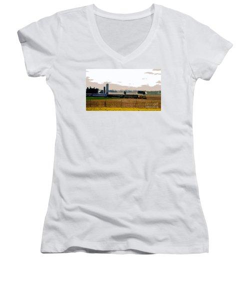 Women's V-Neck T-Shirt (Junior Cut) featuring the photograph A Train Runs Through It by Nina Silver