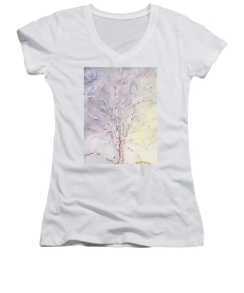 A Tree In Winter Women's V-Neck T-Shirt (Junior Cut) by Vickie G Buccini