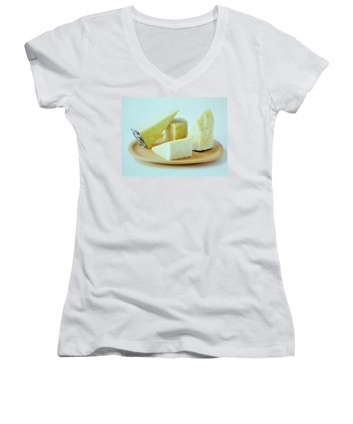 A Variety Of Cheese On A Plate Women's V-Neck