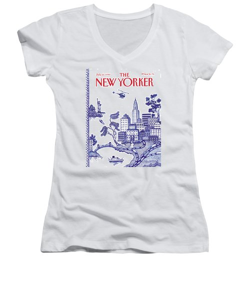 A View Of New York City Women's V-Neck