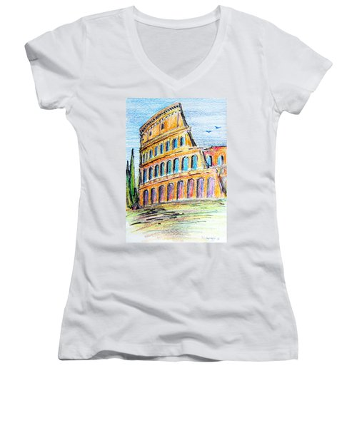Women's V-Neck T-Shirt (Junior Cut) featuring the painting A View Of The Colosseo In Rome by Roberto Gagliardi