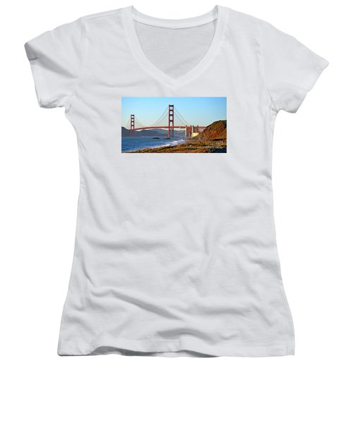 Women's V-Neck T-Shirt (Junior Cut) featuring the photograph A View Of The Golden Gate Bridge From Baker's Beach  by Jim Fitzpatrick