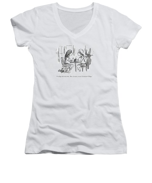 A Village Did Raise Him.  But Women's V-Neck T-Shirt (Junior Cut) by Warren Miller
