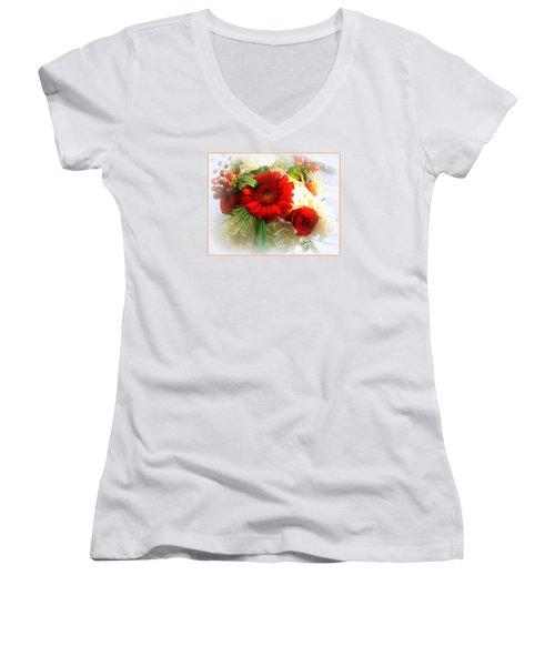 A Vision In Red Women's V-Neck T-Shirt (Junior Cut) by Dora Sofia Caputo Photographic Art and Design