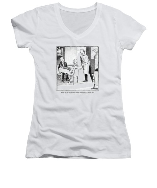 A Waiter Offers Pepper To Two Patrons. His Pepper Women's V-Neck