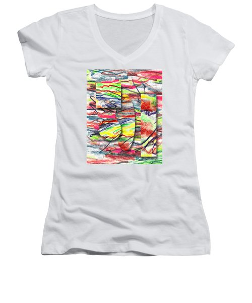 A Walk In The Park  Women's V-Neck T-Shirt (Junior Cut) by Peter Piatt