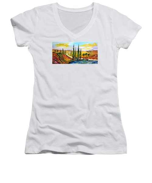 Women's V-Neck T-Shirt (Junior Cut) featuring the painting A Warm Day Under The Tuscan Sun by Roberto Gagliardi