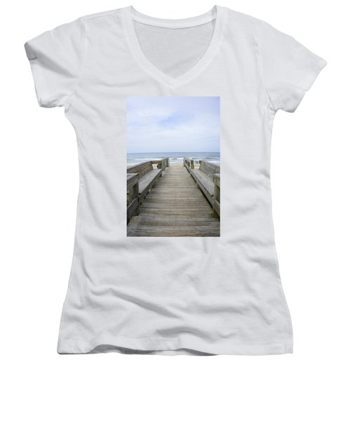 Women's V-Neck T-Shirt (Junior Cut) featuring the photograph A Welcoming View by Laurie Perry