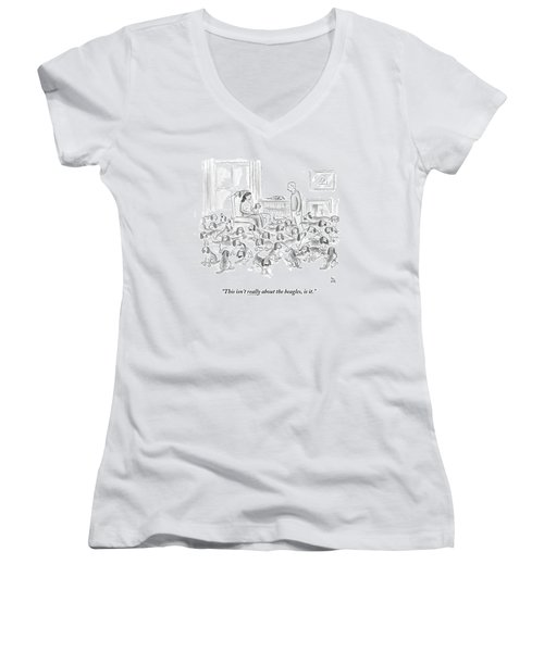 A Wife Surrounded By Beagles Addresses Women's V-Neck