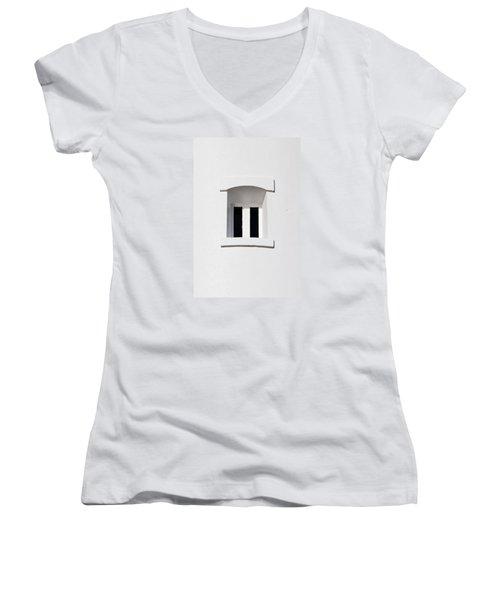 A Window In White Women's V-Neck T-Shirt (Junior Cut) by Wendy Wilton