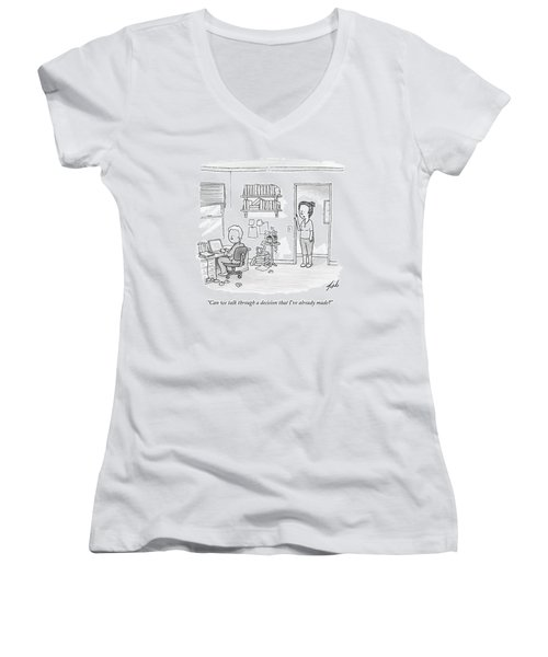 A Woman Addresses Her Husband In His Home Office Women's V-Neck