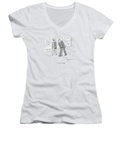A Woman And A Man Walk Side By Side. The Man Women's V-Neck