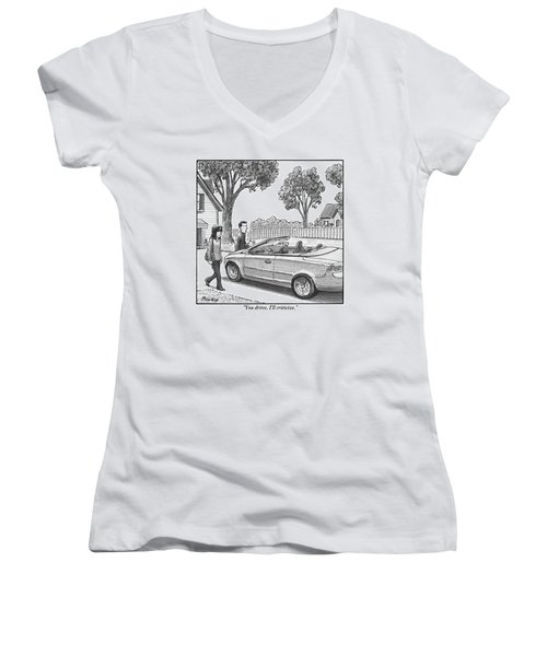 A Woman And Man Are Walking From Their House Women's V-Neck