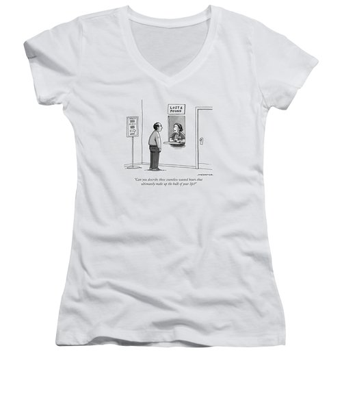 A Woman At The Lost And Found Window Speaks Women's V-Neck