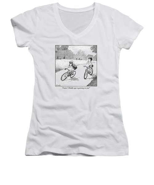 A Woman Casually Riding A Bicycle Addresses A Man Women's V-Neck