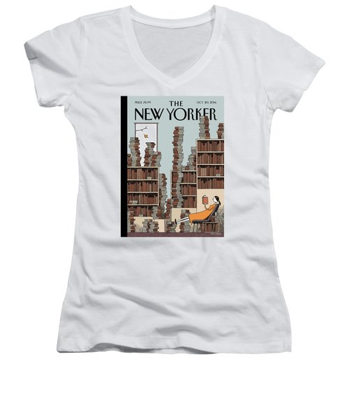Fall Library Women's V-Neck