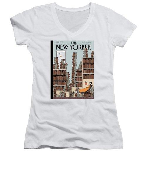 Fall Library Women's V-Neck