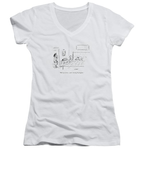 A Woman Wakes Up Her Husband At 6:17 Am Women's V-Neck