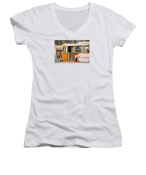 A Yellow Tram On The Streets Of Budapest Hungary Women's V-Neck T-Shirt (Junior Cut) by Imran Ahmed
