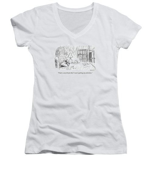 A Young Girl Wakes Up Her Sleeping Parents Women's V-Neck