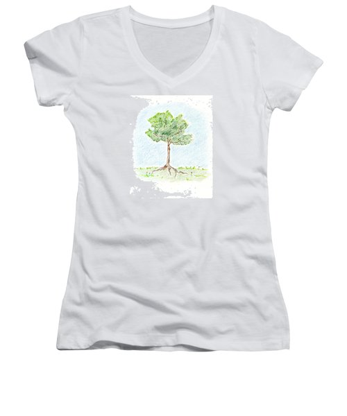 Women's V-Neck T-Shirt (Junior Cut) featuring the drawing A Young Tree by Keiko Katsuta