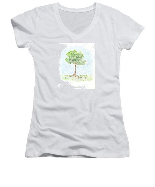 A Young Tree Women's V-Neck T-Shirt (Junior Cut) by Keiko Katsuta